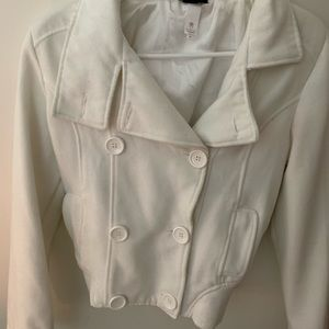 White bomber peacoat size medium